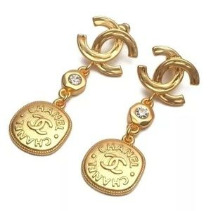 Authentic Chanel Gold plated earrings